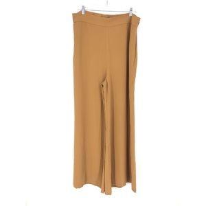 Leith Sz XL Wide Leg Trousers Dark Tan Side Zip